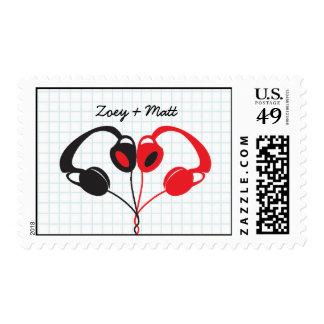 Retro Indie Headphones Heart Wedding Red and Black Postage