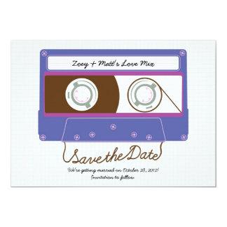 Retro Indie Mixtape Purple / Blue Save the Date Card