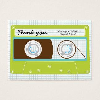 Retro Indie Mixtape Wedding Blue / Lime Green Business Card