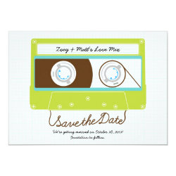 Retro Indie Mixtape Wedding Blue / Lime Green Card