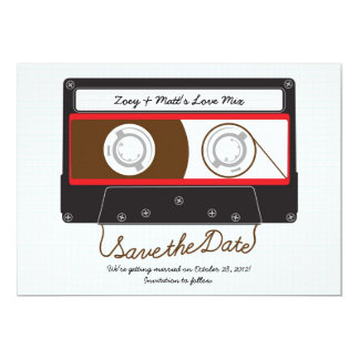 Retro Indie Mixtape Wedding Red, Black & White Card