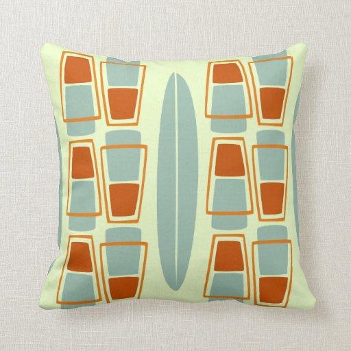 Vintage Inspired Throw Pillows : Retro Inspired 1950s Tiki Surfboard Throw Pillow Zazzle