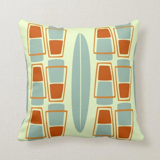 Retro Inspired 1950s Tiki Surfboard Throw Pillow