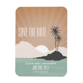 Retro Inspired Beach Wedding Save The Date Magnet