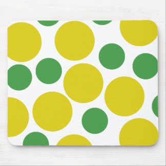 Retro Inspired Green And Gold Polka Dots Mouse Pad