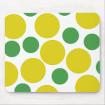Retro Inspired Green And Gold Polka Dots Mousepads