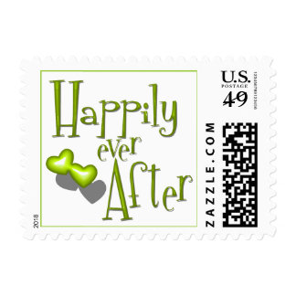 Retro Inspired Happily Ever After And Olive Hearts Postage Stamps