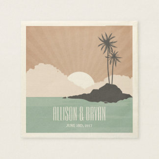 Retro Inspired Island Beach Wedding Napkins