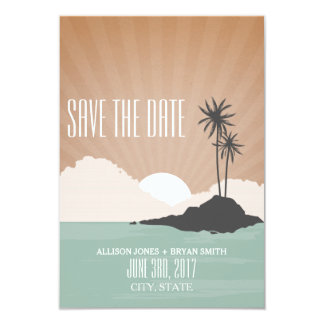 Retro Inspired Island Beach Wedding Save The Date Card