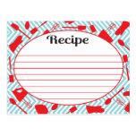 Retro inspired Kitchen utensil Recipe Cards Postcard