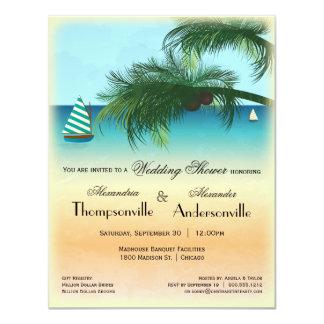 """Retro Inspired Serene Beach Scene Invite 4.25"""" X 5.5"""" Invitation Card"""