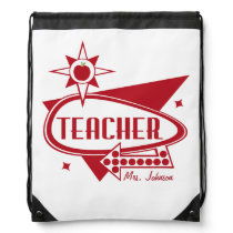 Retro Inspired Teacher Drawstring Backpack - Red