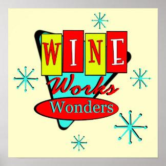 Retro Inspired Wine Works Wonders Wall Art Posters