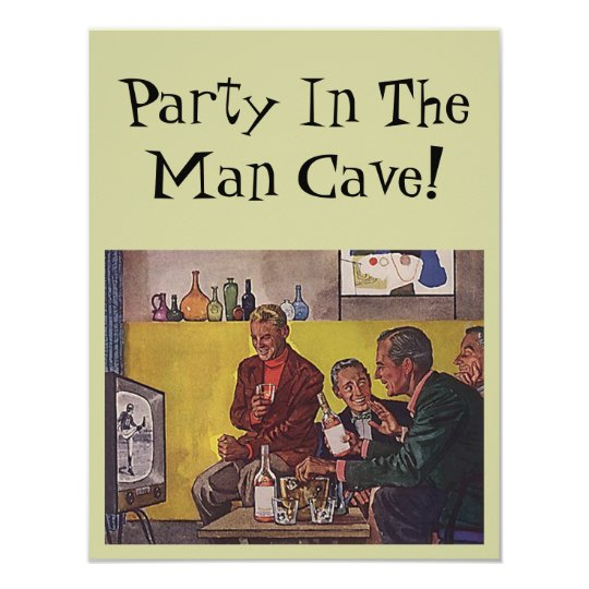 Retro Invitation to host Party Man Cave Theme