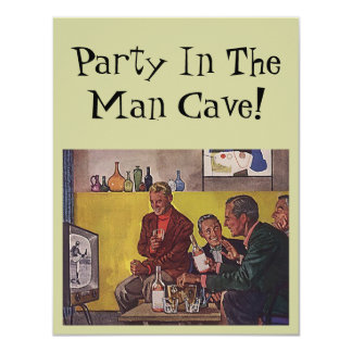 Retro Invitation to host Party Man Cave Theme