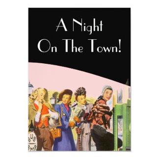 """Retro Invitations Night On The Town Bachelorette 5"""" X 7"""" Invitation Card"""