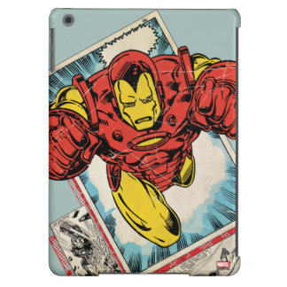 Retro Iron Man Flying Out Of Comic Case For iPad Air