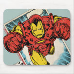 Retro Iron Man Flying Out Of Comic Mousepads