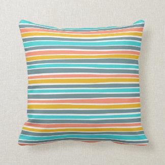 Retro Irregular Lines Pattern Blue Coral Mustard Throw Pillow