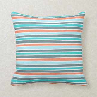 Retro Irregular Lines Pattern Blue Coral Teal Throw Pillow