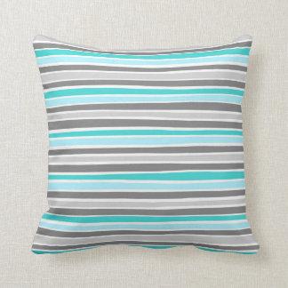 Retro Irregular Lines Pattern Blue Grey Throw Pillow