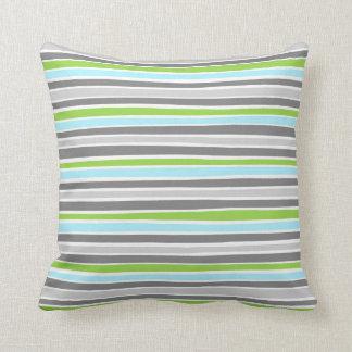 Retro Irregular Lines Pattern Blue Lime Grey Throw Pillow