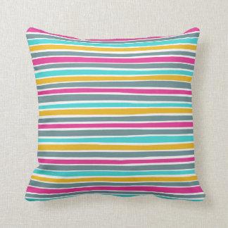 Retro Irregular Lines Pattern Blue Pink Mustard Throw Pillow