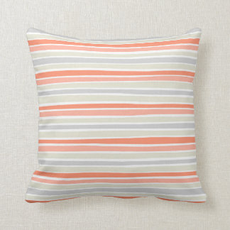 Retro Irregular Lines Pattern Coral Beige Grey Throw Pillow
