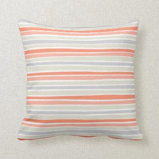 Retro Irregular Lines Pattern Coral Beige Grey Throw Pillow