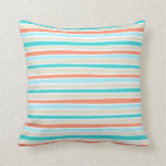 Retro Irregular Lines Pattern Coral Teal Beige Throw Pillow