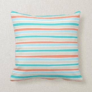 Retro Irregular Lines Pattern Coral Teal Beige Throw Pillow