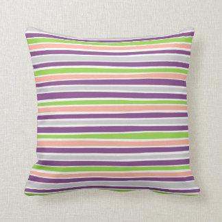 Retro Irregular Lines Pattern Lime Purple Coral Throw Pillow