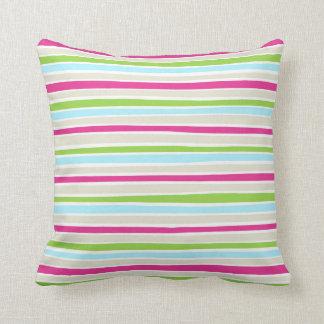 Retro Irregular Lines Pattern Pink Lime Blue Throw Pillow