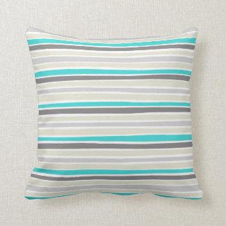 Retro Irregular Lines Pattern Turquoise Grey Beige Throw Pillow