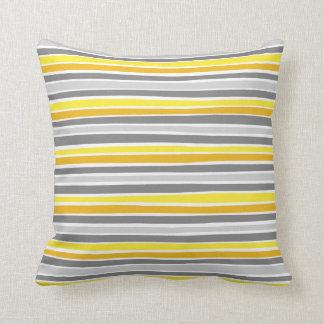 Retro Irregular Lines Pattern Yellow Grey Throw Pillow