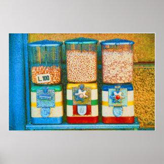 Retro Italian 1950s Nut Vending Machines Poster