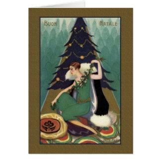 Retro Italian Art Deco Buon Natale Christmas Card