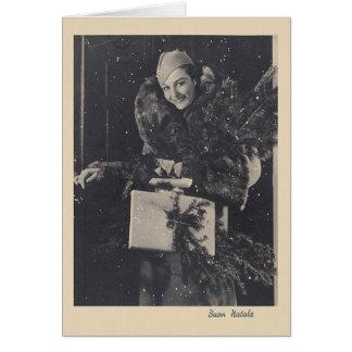 Retro Italian Buon Natale Christmas Card