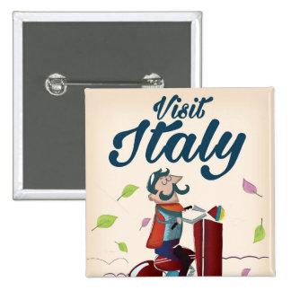 Retro Italian cartoon scooter poster. 2 Inch Square Button