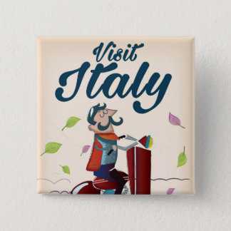 Retro Italian cartoon scooter poster. Button