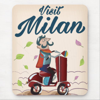 Retro Italian cartoon scooter poster Mouse Pad