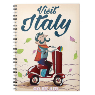 Retro Italian cartoon scooter poster Notebook
