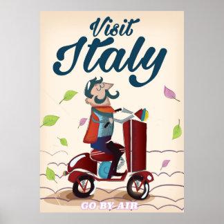 Retro Italian cartoon scooter poster. Poster