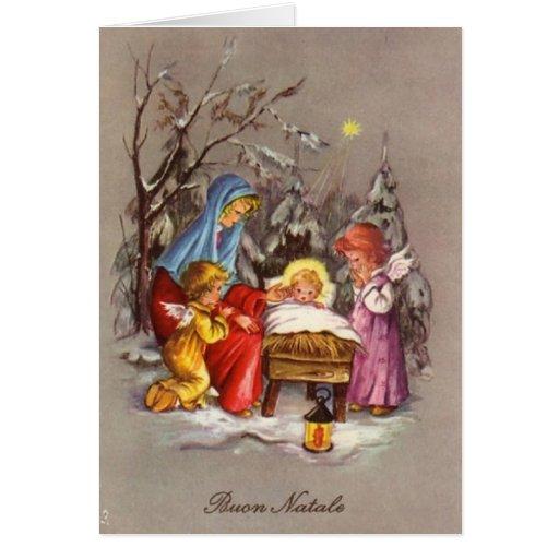 Retro Italian Christmas Nativity Greeting Card