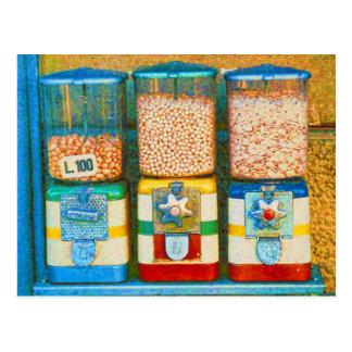 Retro Italian Colorful Nut Dispensers 1950s Style Postcard