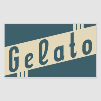 retro italian gelato rectangular sticker
