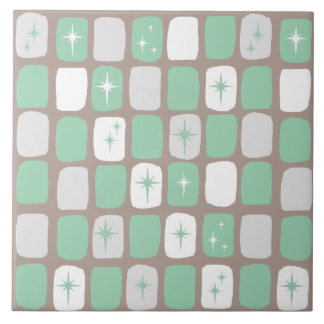 Retro Jade Starbursts Ceramic Tile