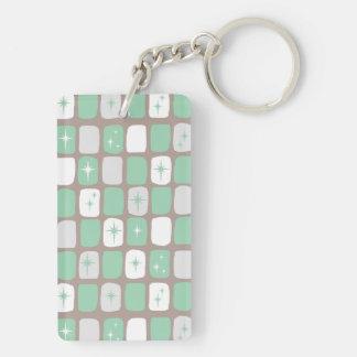 Retro Jade Starbursts Rectangle Keychain