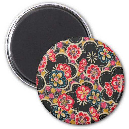 Retro Japanese Kimono Origami Sakura Flower Fridge Magnet