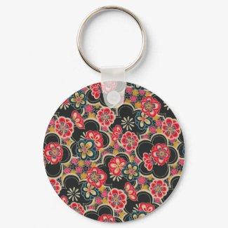 Retro Japanese Kimono Origami SakuraFlower Pattern keychain
